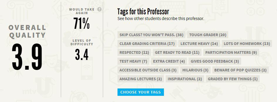 Rate My Professors - college success tips for freshman