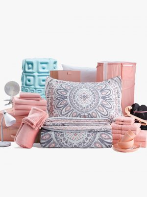 campus living pink dorm room essentials bundle for college students