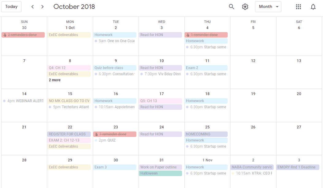 habits of successful college students - google calendar screenshot