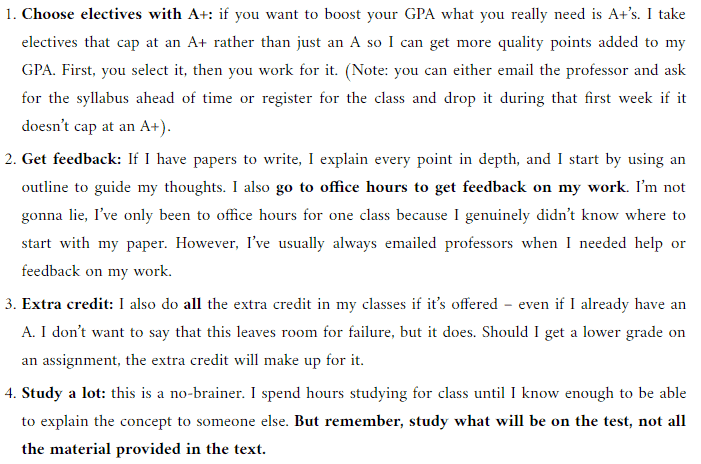 tips for getting a 4.0 GPA
