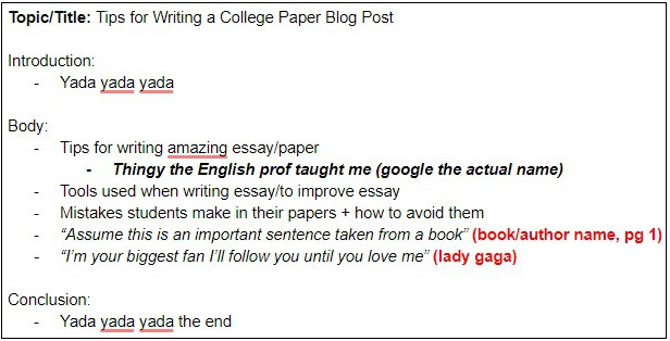 how to write a college paper - citations example
