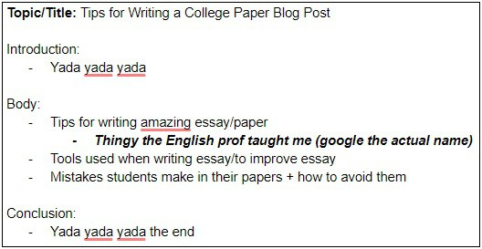 how to write a college paper - outline