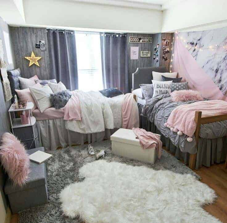 dorm room ideas - pink and grey theme