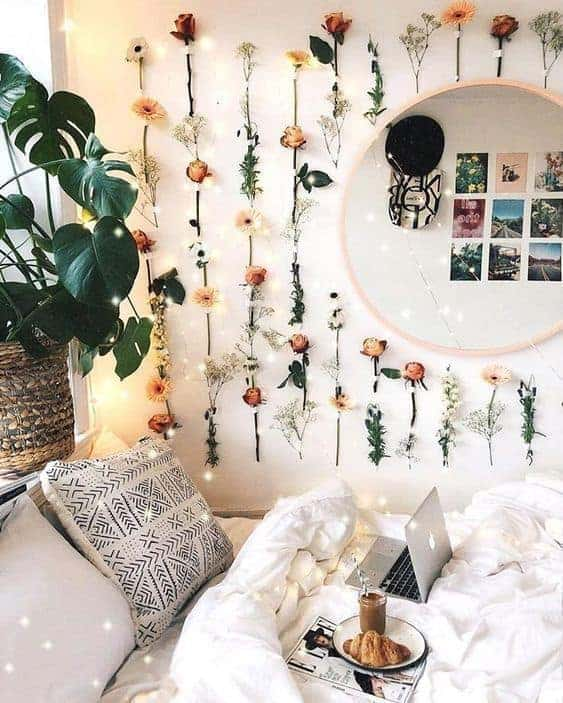 dorm room ideas - floral aesthetic
