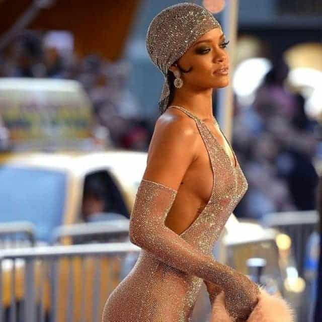 Rihanna wearing her iconic and controversial sheer crystal ensemble at the CFDA Awards.