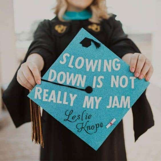 leslie knope graduation cap idea