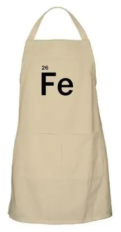 An apron with a chemical symbol of iron on the front part.