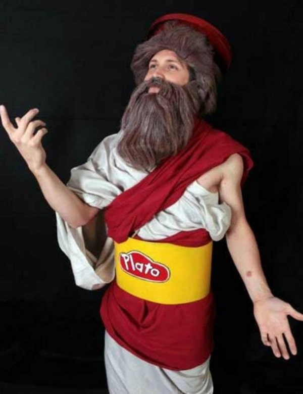 A man wearing a Halloween costume that is a cross between Plato and Play-Doh.