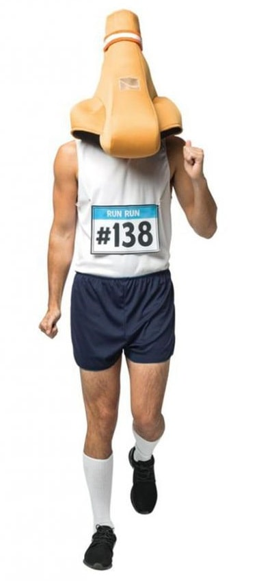 A man dressed as a runny nose for Halloween with a costume made of a white tank top with matching number plate and nose head gear.