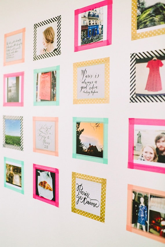 An Instagram-inspired dorm wall adorned with photos bordered with colorful Washi tape.