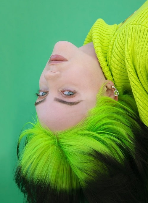 Billie Eilish in a green sweater and matching green hair.