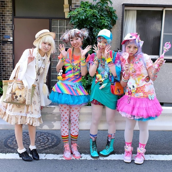 A group of girls in modern Japanese Harajuku costumes.