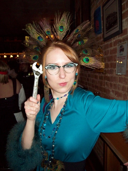 Jess Witkins dressed as Mrs. Peacock from Cluedo for Halloween.