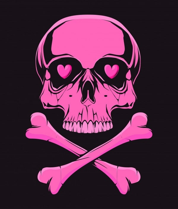 A drawing of a hot pink pirate skull with heart eyes and a black background.
