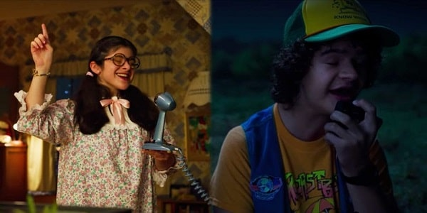 Photos of Suzie in her nightgown and oversized glasses and Dustin speaking over his walkie-talkie in Stranger Things Season 3.