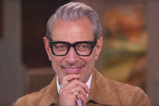 Jeff Goldblum wearing his black horn-rimmed glasses and brown suede jacket.