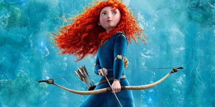 Merida from Brave, with her red curly hair, blue gown, and wooden bow and arrow.