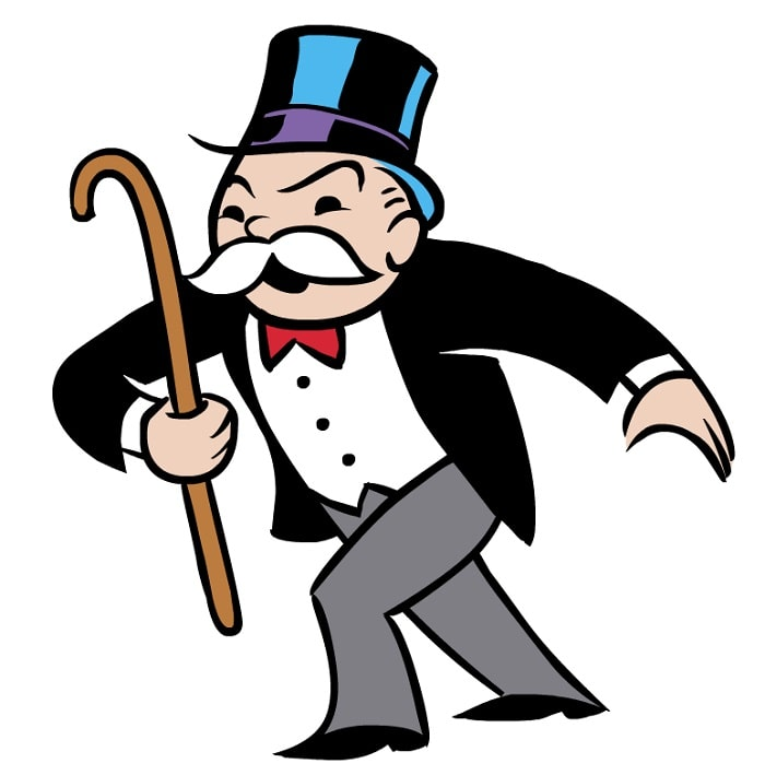 The Monopoly Man with his signature white mustache, wearing his top hat, tuxedo, and red bowtie.