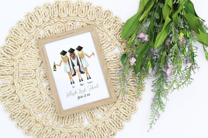 A personalized roomie portrait with a customized print placed inside a wooden frame glued to a woven placemat.