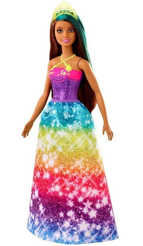 Princess Rainbow Barbie in her sparkly rainbow-colored with matching gold tiara.