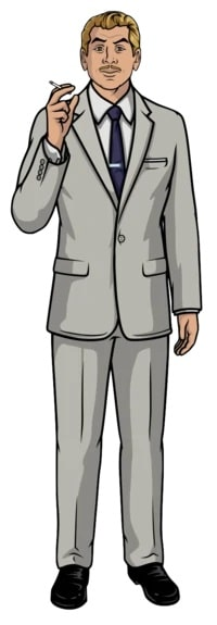 Ray GIllette from Archer with his signature mustache and wearing his gray suit and holding a cigarette in his right hand.