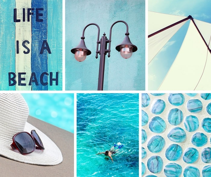 A beach-inspired photo collage consisting of various photos with a color blue and water motif.