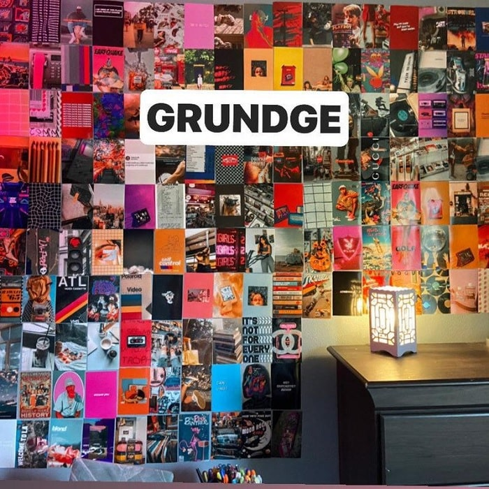 A grunge-themed dorm room picture collage.