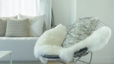 A round-shaped metal-backed folding chair with shaggy throw accents in a cozy dorm room space.