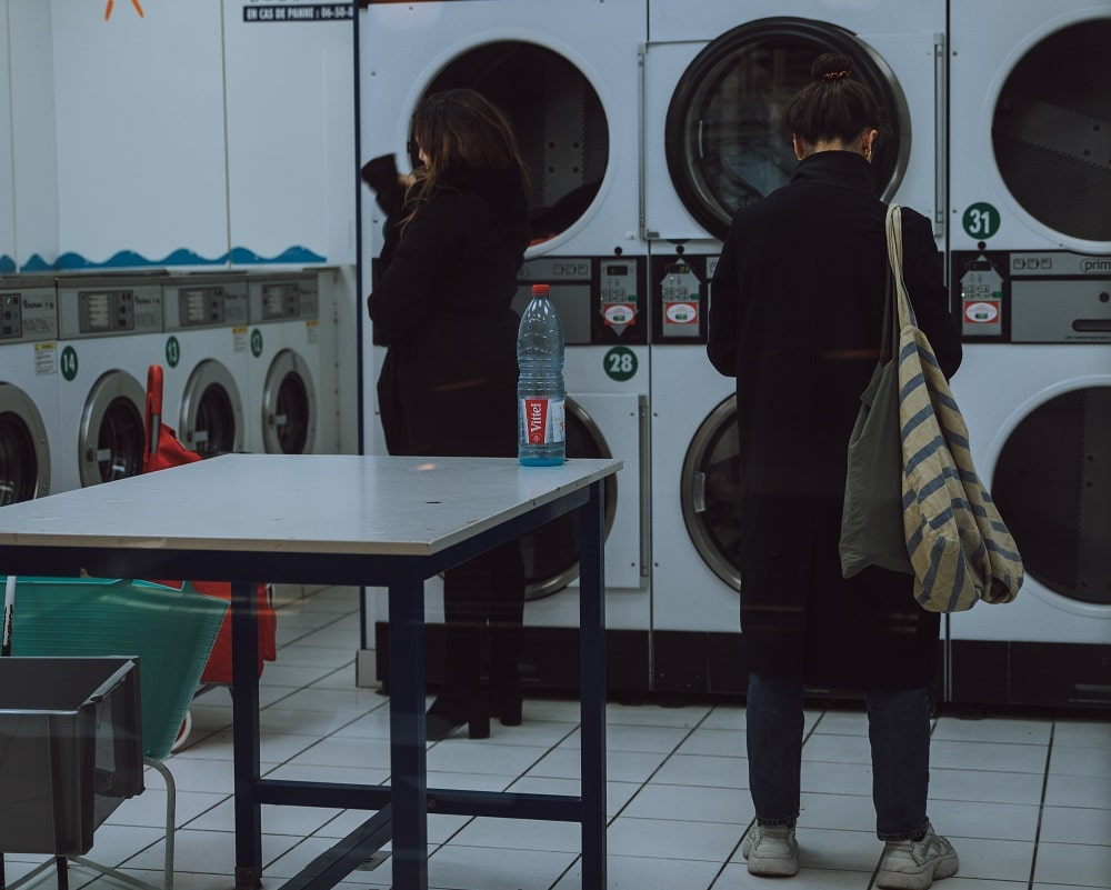This is the laundry facility of the dormitory with multiple machines.
