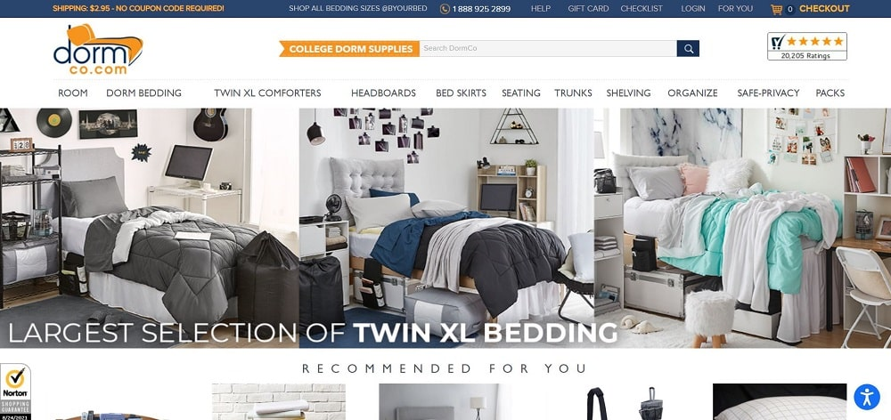 This is a screenshot of the Dorm Co website.