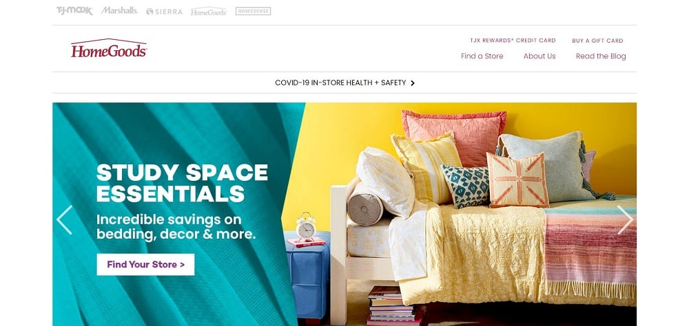 This is a screenshot of the Home Goods website.