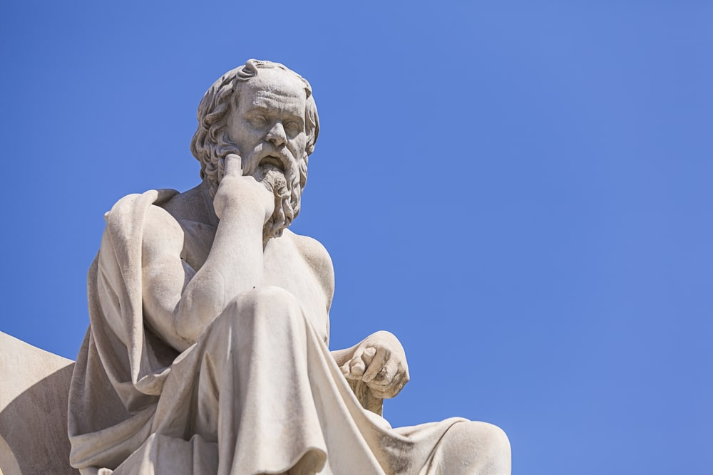 An outdoor sculpture of the famous philosopher Socrates on the grounds of Butler University in Indianapolis, Indiana.