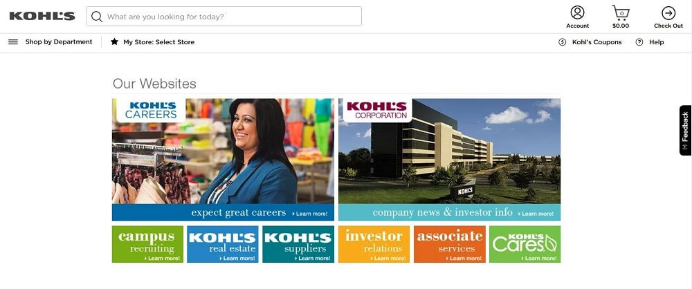 This is a screenshot of the Kohls's website.