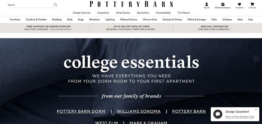 This is a screenshot of the Pottery Barn website.