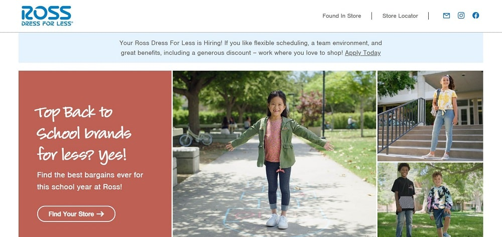 This is a screenshot of the Ross website.