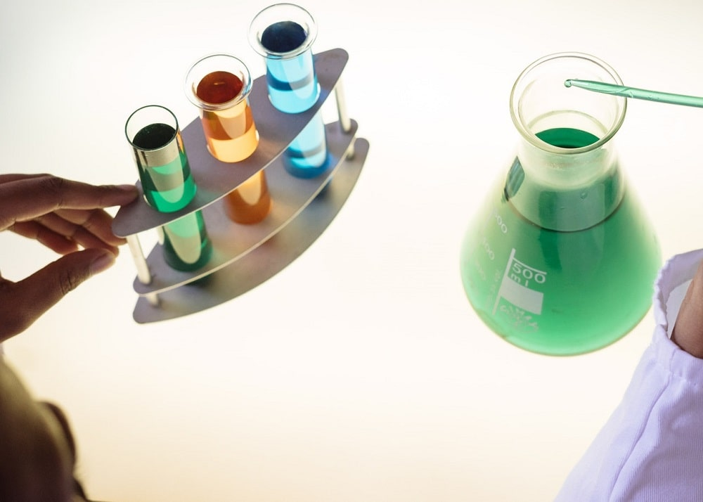 Top view of various chemicals at the lab for use in the chemical engineer's research.