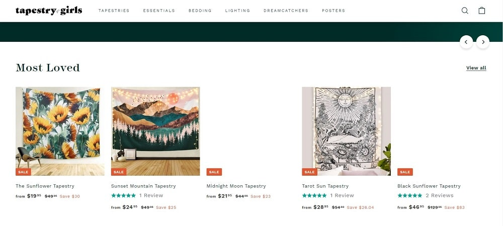 This is a screenshot of the Tapestry Girls website.