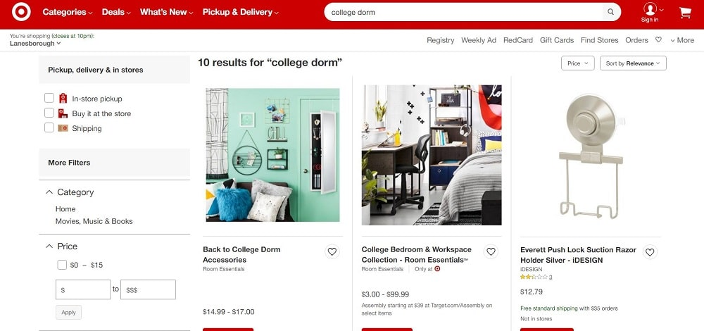This is a screenshot of the Target website.