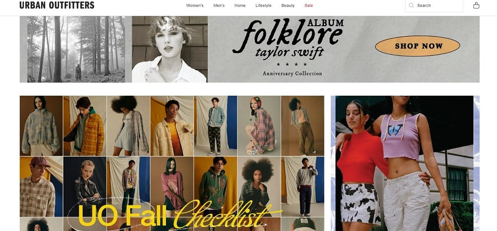 This is a screenshot of the Urban outfitters website.