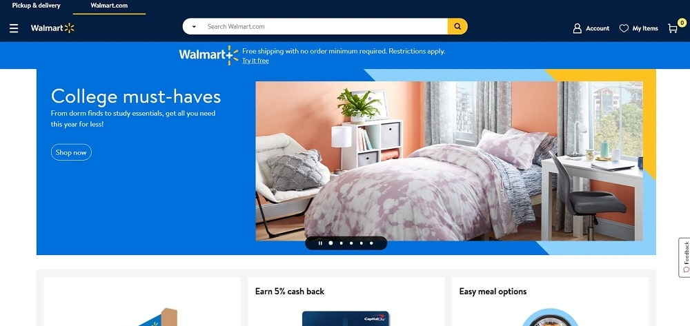 This is a screenshot of the Walmart website.