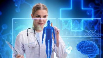 A futuristic depiction of a doctor studying the neurobiology of a human.