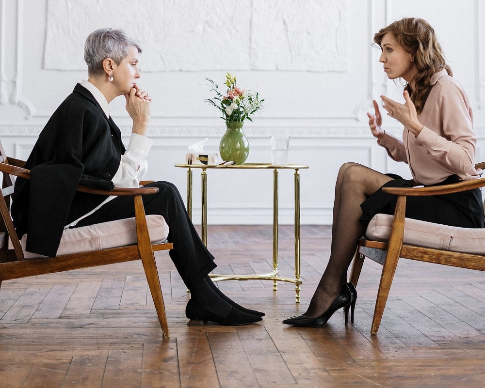 This is a psychotherapist in a session with a client.