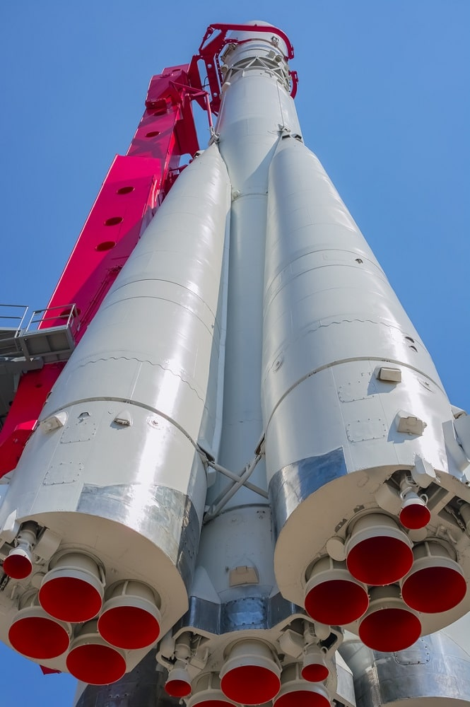 This is a close look at the Russian space rocket Vostok.